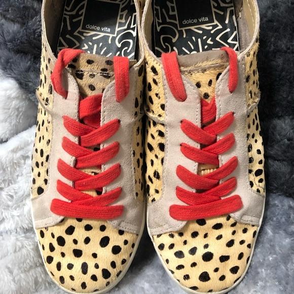 Dolce Vita Azalea Calf Hair Leopard Sneaker